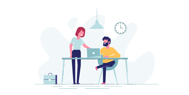 Graphic of human resource jobs. Man sitting at desk with a laptop while a woman points at the screen.