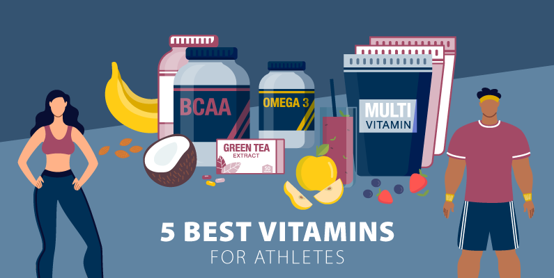 Graphic of two athletes choosing the best vitamin regiment