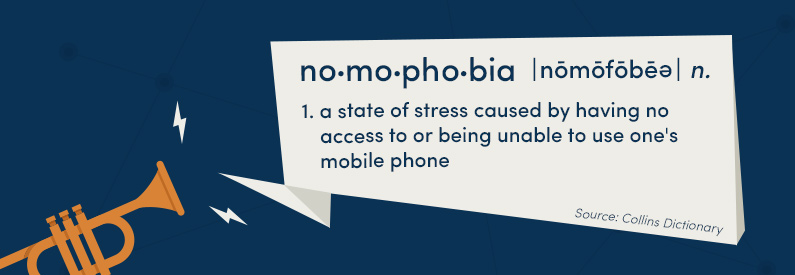 Nomophobia: a state of stress caused by having no access to or being unable to use one's mobile phone