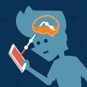 """Illustration of a silhouette character """"plugged in"""" from their brain to a mobile phone."""