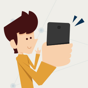 Illustration of character holding up a smartphone.