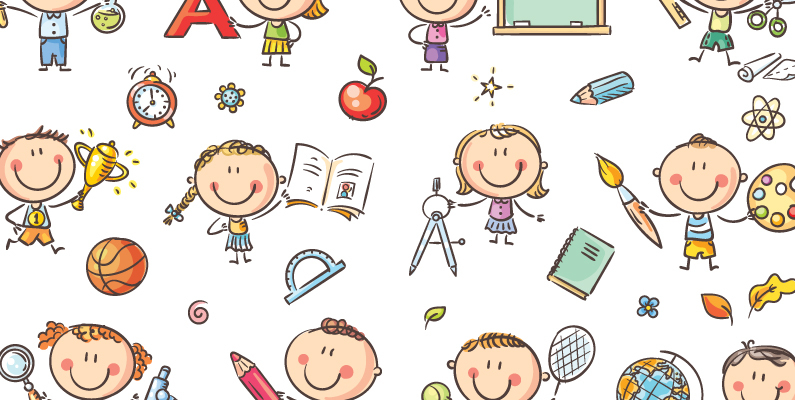 Childish illustration of young students with pencils, books, large letter cutouts and other classroom objects.